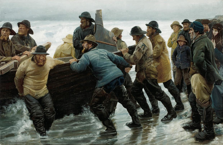 Michael Ancher, Fiskere i færd med at sætte en rorsbåd i vandet, 1881. Skagens Museum. Foto Skagens Museum