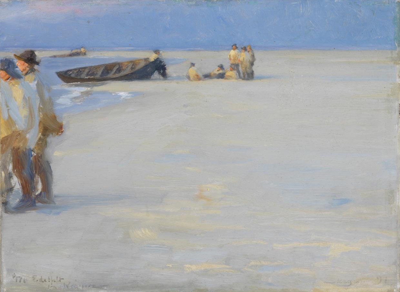 P.S. Krøyer, Fiskere på Nordstranden en sommeraften, 1891. Skagens Museum. Foto Skagens Museum