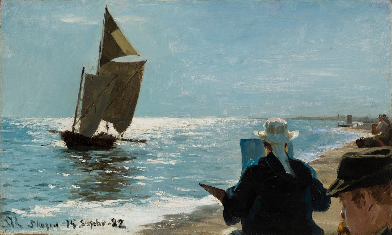 P.S. Krøyer, Kunstnere på Skagen Sønderstrand, 15. september 1882. Skagens Museum. Foto Skagens Museum